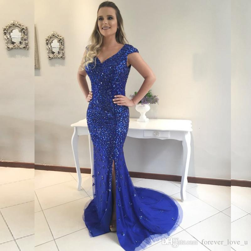 2019 luxe sirène Robes de bal cristaux lourds col V manches SOIRÉE plafonnés Robes avec de Split Tulle Robes Pageant balayage train
