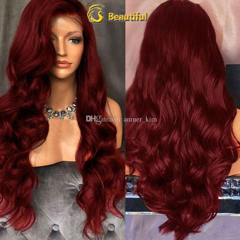 On sale 2018 8a beauty 100% unprocessed raw virgin remy human hair long burg big curly full lace cap wig for women