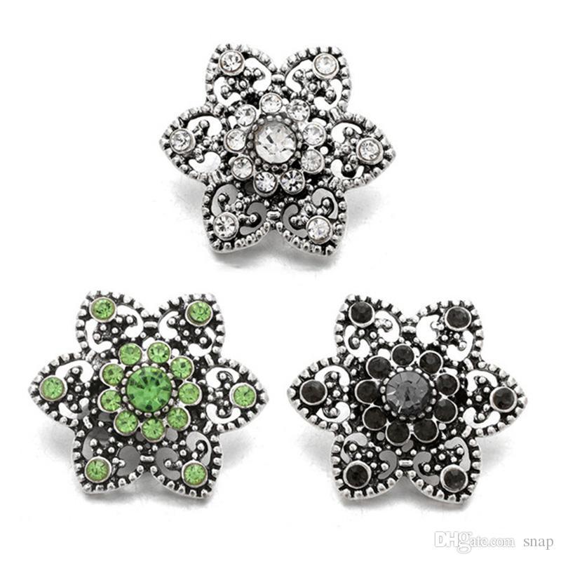 Alta qualit W069PO Natal botão de strass de metal 18 milímetros 20 milímetros de botão de pressão pulseira colar Jóias Para Mulheres Prata jóia