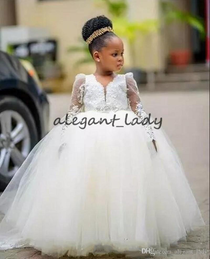 fac1791427346 Manches longues robe de bal fleur filles robes 2019 belle dentelle fée  enfant en bas âge ...