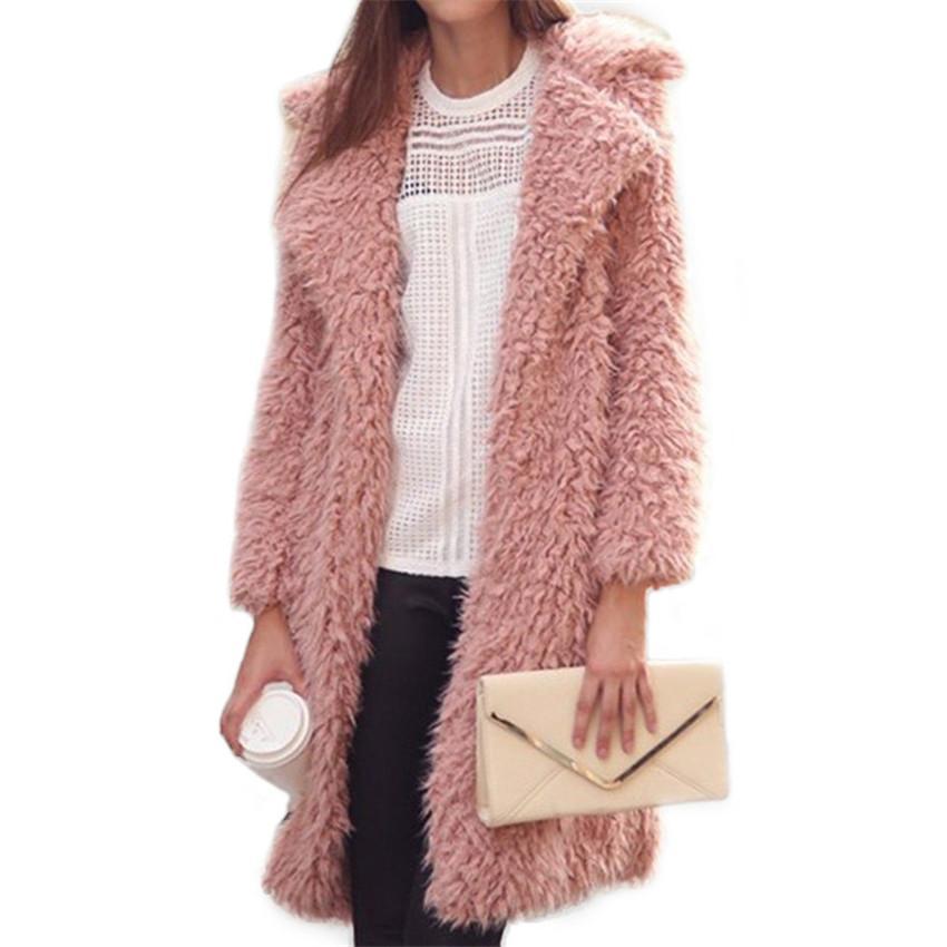 2018 nuevas mujeres abrigo de lana de color sólido Midi sección larga lista de señora de manga larga de invierno abrigos peludos prendas de vestir exteriores Streetwear WZ419