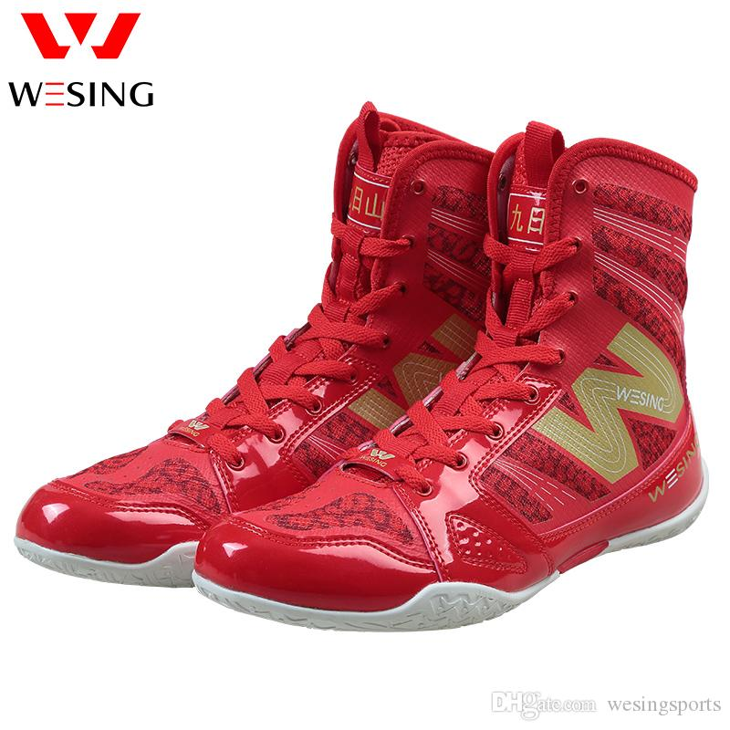 wesing Boxing Shoes Kickboxing Footwears Training High-top Ankle Boot Shoes with Large Size