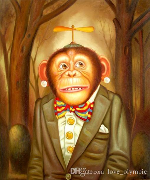 """Venta al por mayor """"Lovely Monkey"""", pintura al óleo pintada a mano genuina del arte animal Pintura al óleo sobre lienzo Múltiples tamaños disponibles, Rsh101 #"""