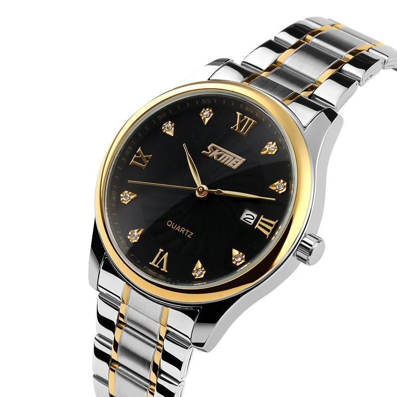 SKMEI Fashion Casual Quartz Watch Men Classic Brand Luxury Stainless Steel Wristwatches Relogio Masculino 9101 Role Watch Mens Watches