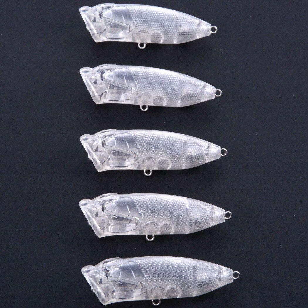 100 ADET 7 cm / 10g Üst Su Popper Boş Sert Boyasız Balıkçılık Yemler Crankbait Wobblers Lures