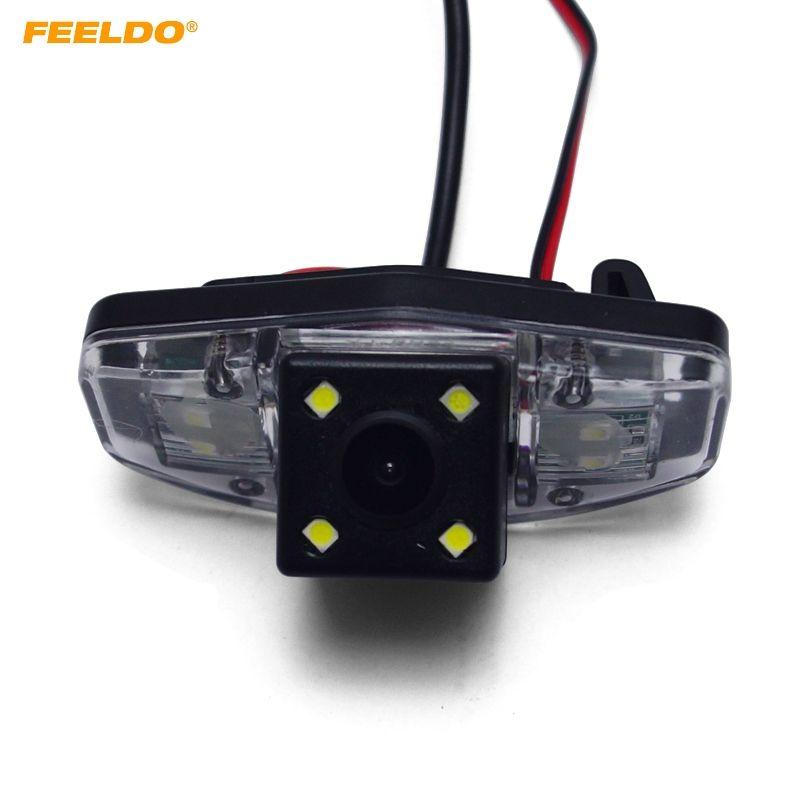 FEELDO coche CCD cámara de visión trasera con LED para Honda Accord / Piloto / Civic / Odyssey invierte la cámara de copia de seguridad # 1015