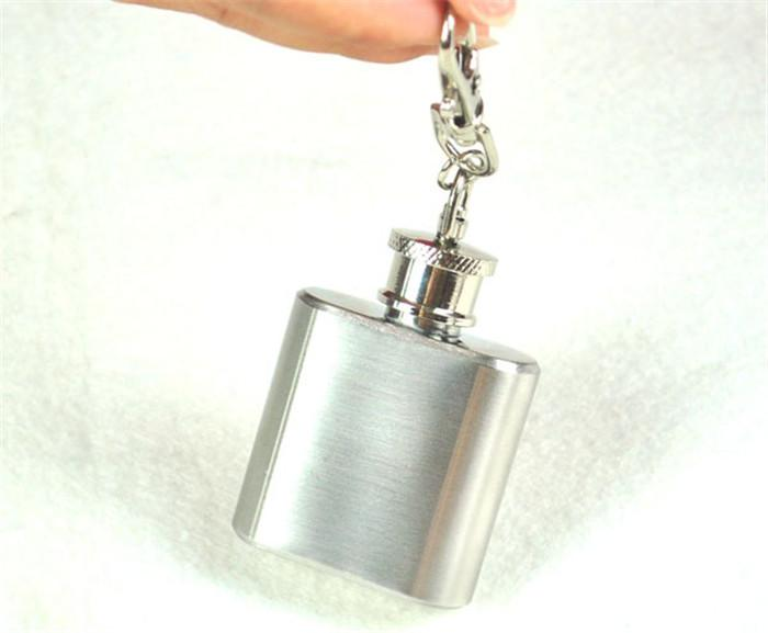 Portable 1oz Mini Stainless Steel Hip Flask Alcohol Flagon with Keychain LHD