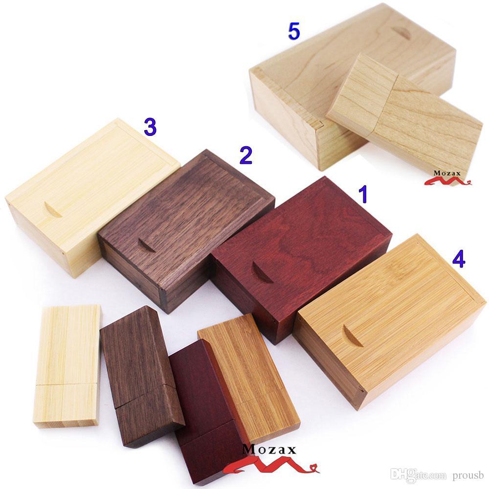 10PCS 1GB 2G 4GIGA 8GB 16GB Memoria USB de madera Memorias USB 2.0 Almacenamiento verdadero Pendrives Sticks + Estuche de madera para personalizar logotipo