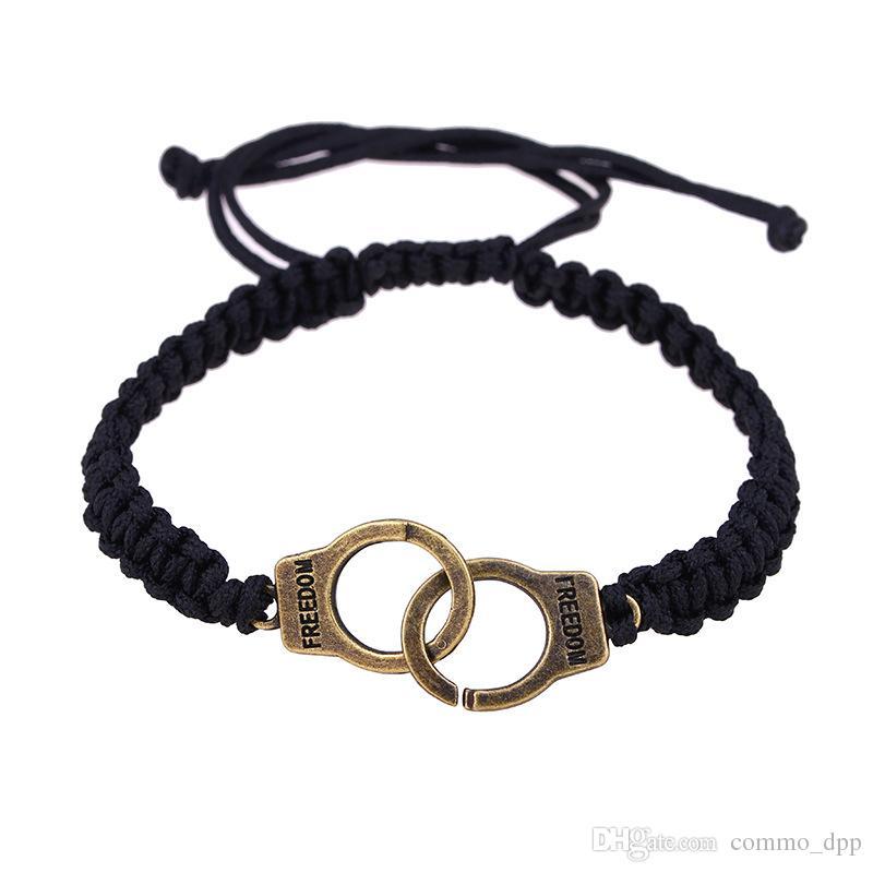 Mode Trendy Freedom Handcuff Bracelets Noir tissé à la main à la chaîne de la chaîne Bangle Pour femmes hommes DIY Artisanat Bijoux Cadeau
