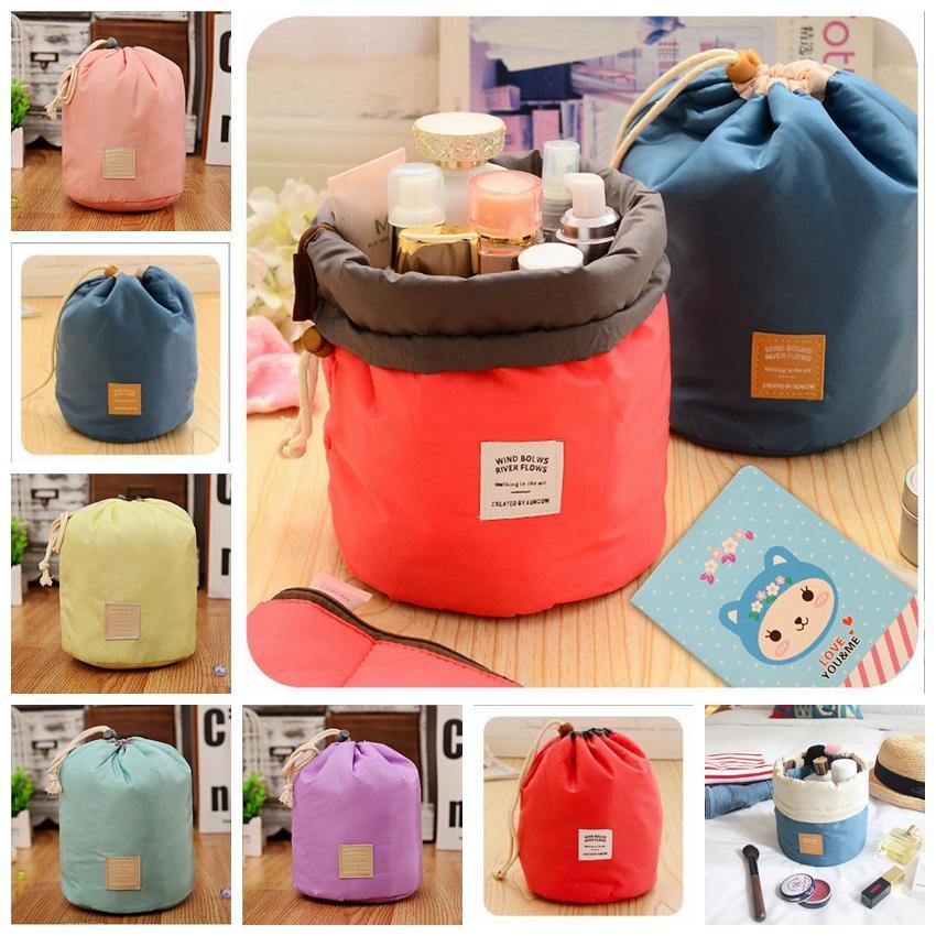 6 цветов женские водонепроницаемые сумки для хранения организатор цилиндр косметический мешок нейлон шнурки путешествия мешок новизны Gga835 120 шт.