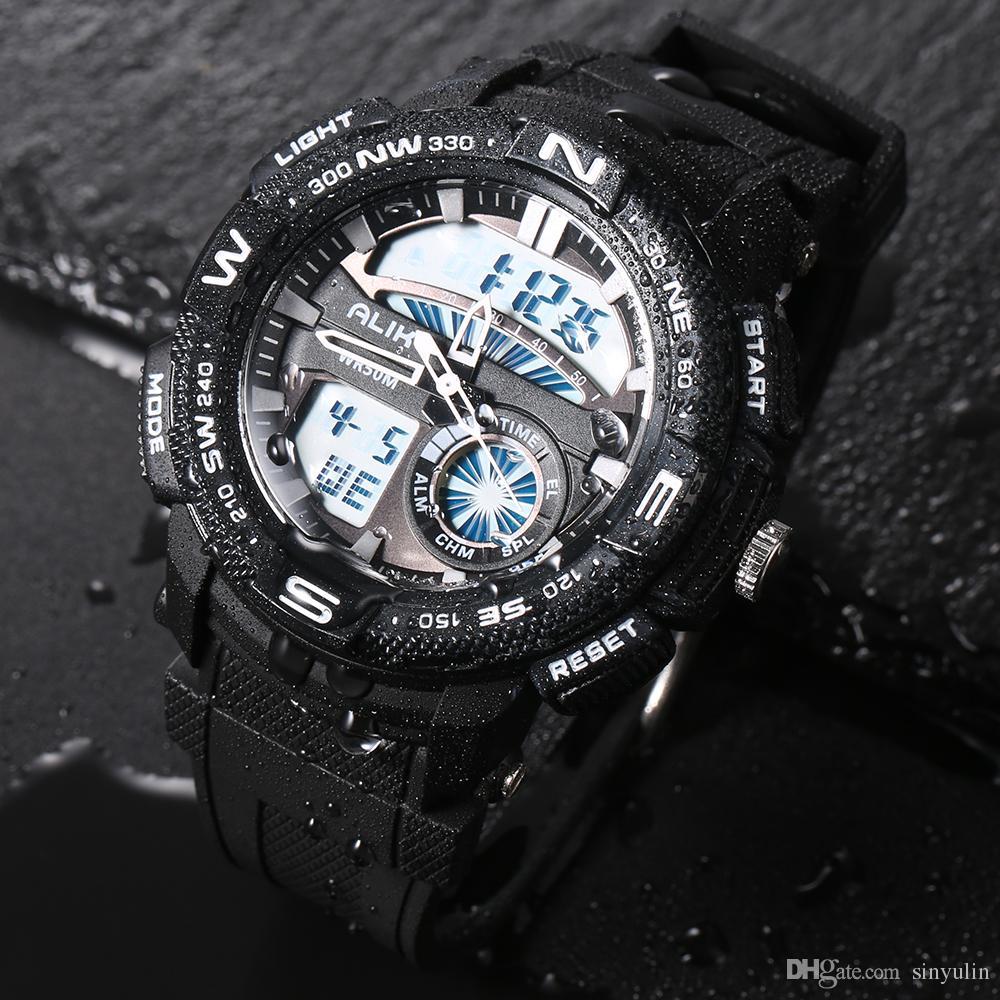 2019 ALIKE Men S Shock Outdoor Sports Watches Quartz Hour Digital Watch Military 50m Waterproof Silicone Wrist Watch LED Clock G style Saat