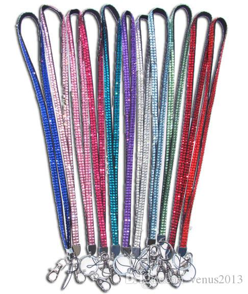 New Bling Rainbow Rhinestone Lanyard Crystal neck strap Diamond Long Lanyard with Keychain and Clip Badge ID Holder