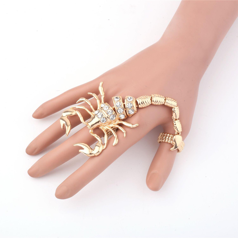 Neue europäische und amerikanische übertriebene Persönlichkeit Legierung, Diamant Hammer, Skorpionring, Großhandel Einzelhandel Doppel-Ring-Handring