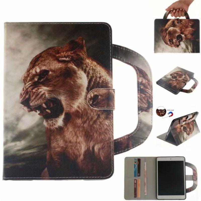 Funda para tableta Coque para iPad Air / ipad 5 Cubiertas Cajas Manija Cubierta del soporte Soporte Billetera de cuero Bolsa Tarjeta Dibujo color lobo tigre león