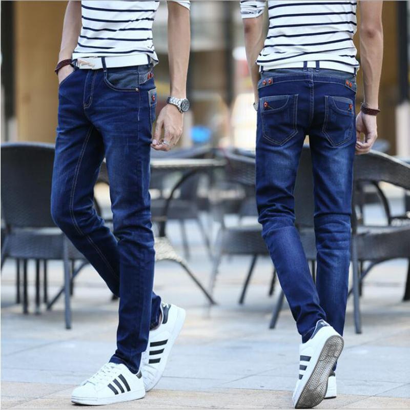 Jeans Men 's Stretch Blue Buttons Poches Conception Slim Fit Jeans skinny Denim Joggers Jeans Casual Biker Moteur Pantalon Homme en gros