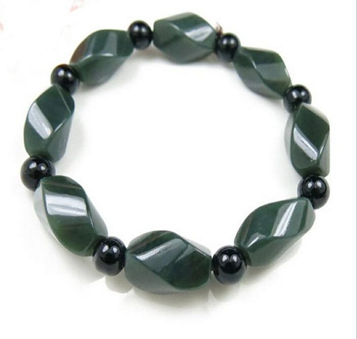 100% bijoux Vert foncé Hetian Pierre Perles Bracelet Femme Bracelets De L'Homme Bijoux Personnalité Simple Bracelet Perlé