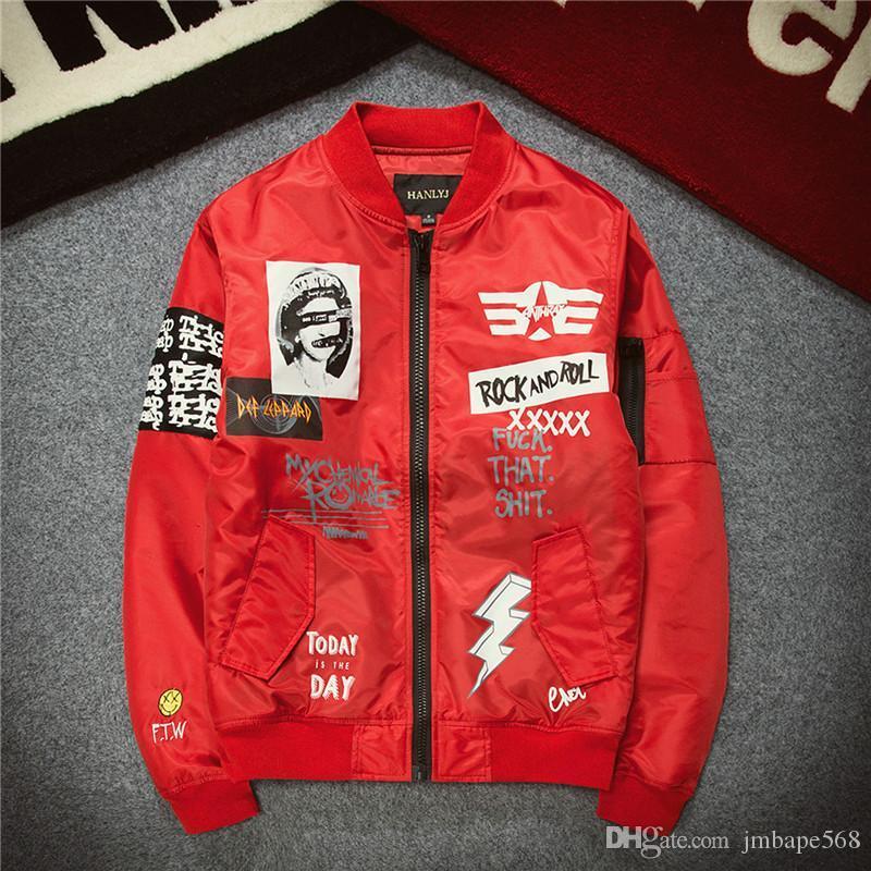 JM Toptan, kart baskı Hava Kuvvetleri pilotları gençlik beyzbol üniforma ceket ceket erkek severler