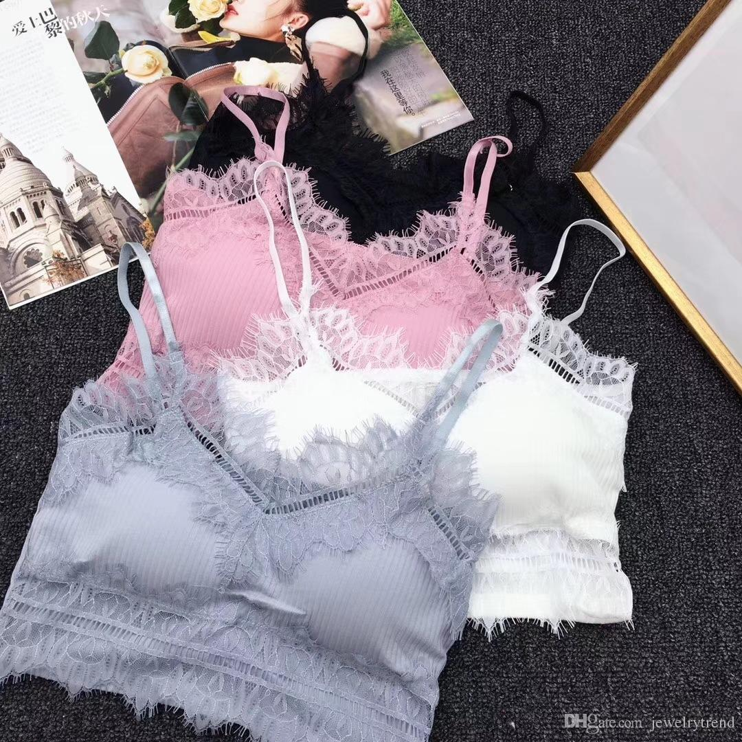 Summer Bras For Women Adjusted-strap Lady's Lace Bra Underwear Vest Top No Steel Ring Elastic Bras C3884