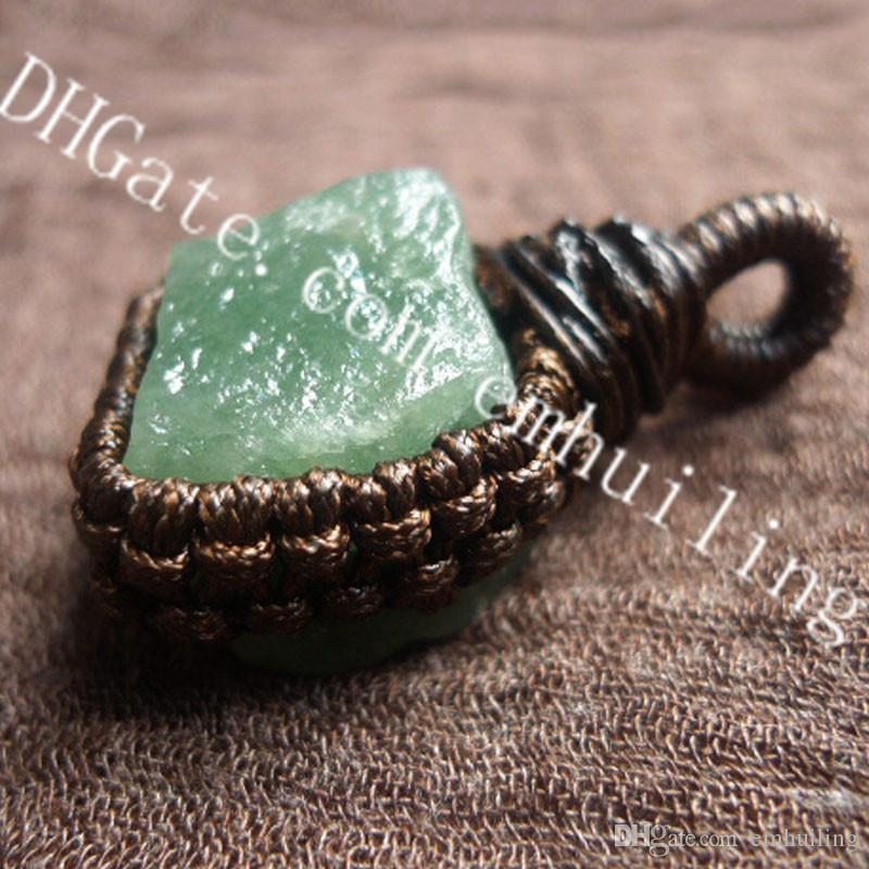 5Pcs Irregular Raw Natural Green Aventurine Crystal Stone Wax Cord Macrame Pendant Handmade Rough Green Quartz Gemstone Chakra Pendant Charm