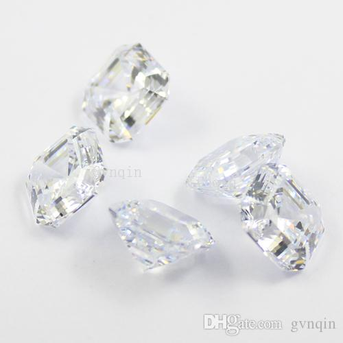 ücretsiz kargo 10pcs / lot 8.5mmX8.5mm kübik zirkon simüle elmas asscher gevşek mücevher taşları kesmek