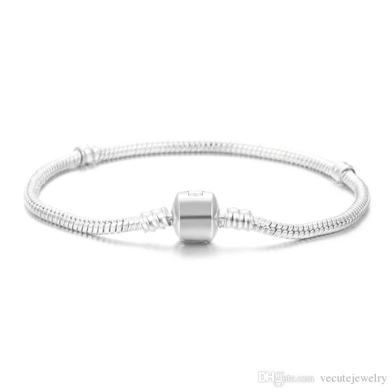 Wholesale 925 Sterling Silver Plated Basic Snake Chain Bracelet DIY Charms Beads Jewelry Fit Pandora Bracelets & Bangles 3MM 16cm-23cm