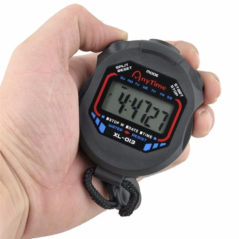 Classic Digital Professional Handheld LCD Chronograph Sports Stopwatch Timer Stop Watch with string 2017 new sale