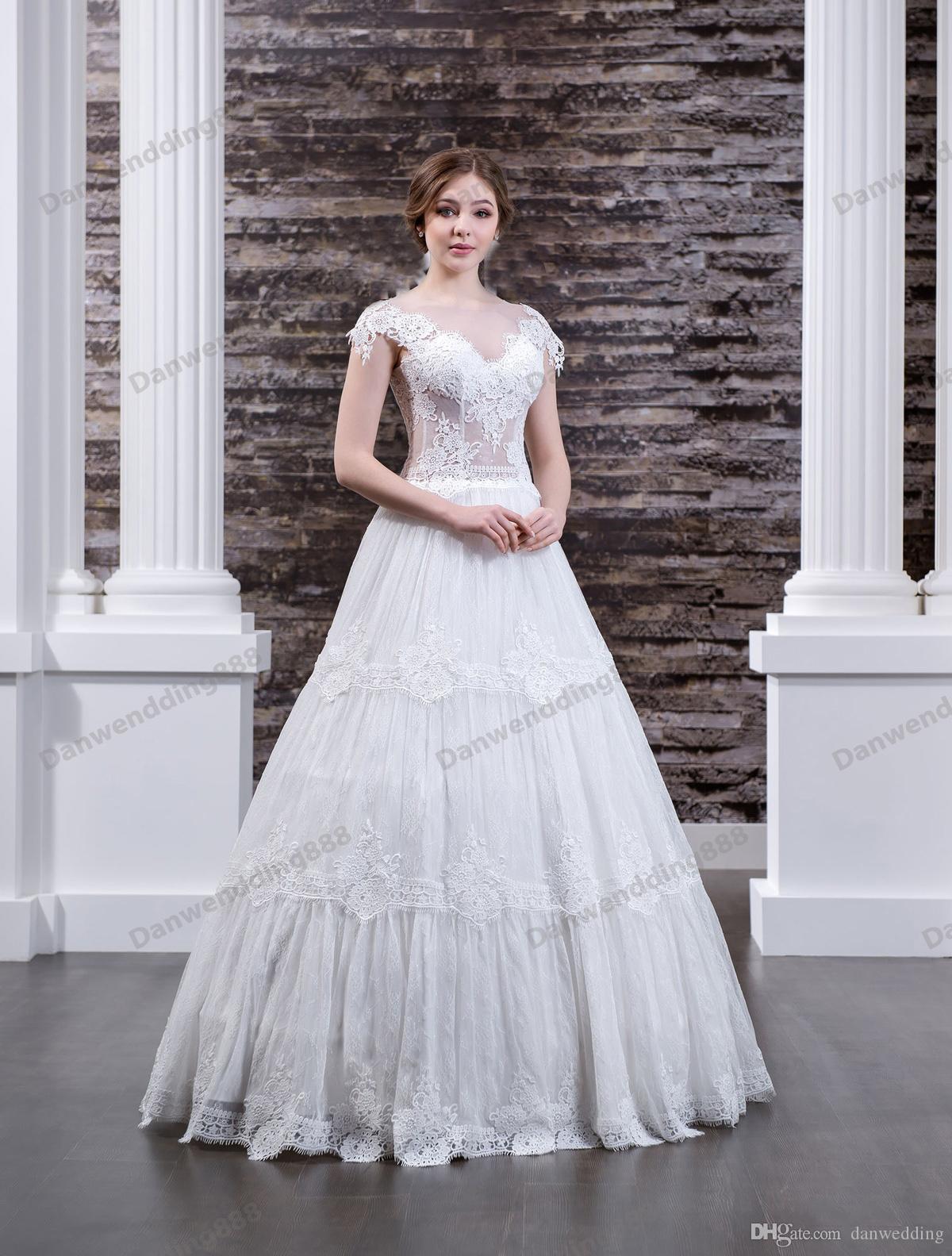 Sexy White Lace/Tulle Scoop Applique A-Line Wedding Dresses Bridal Pageant Dresses Wedding Attire Dresses Custom Size 2-16 ZW608072