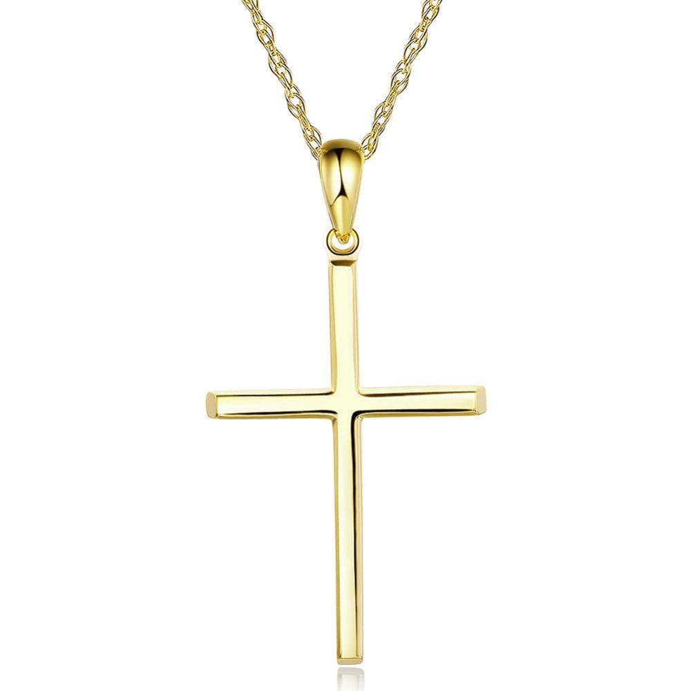 SMALL GOLD CROSS NECKLACE 14K WHITE GOLD CROSS SOLID GOLD 585