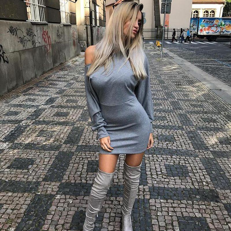 Großhandel Elegante One Shoulder Figurbetontes Kleid Schlank Langarm ...