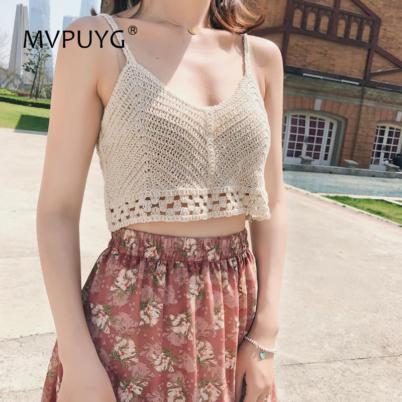 2018 Korean Sweet Tank Top Women Sexy Thin Camis V Neck Hollow Out Knitted Sleeveless Loose Female Top Vest Ladies Women Shirt