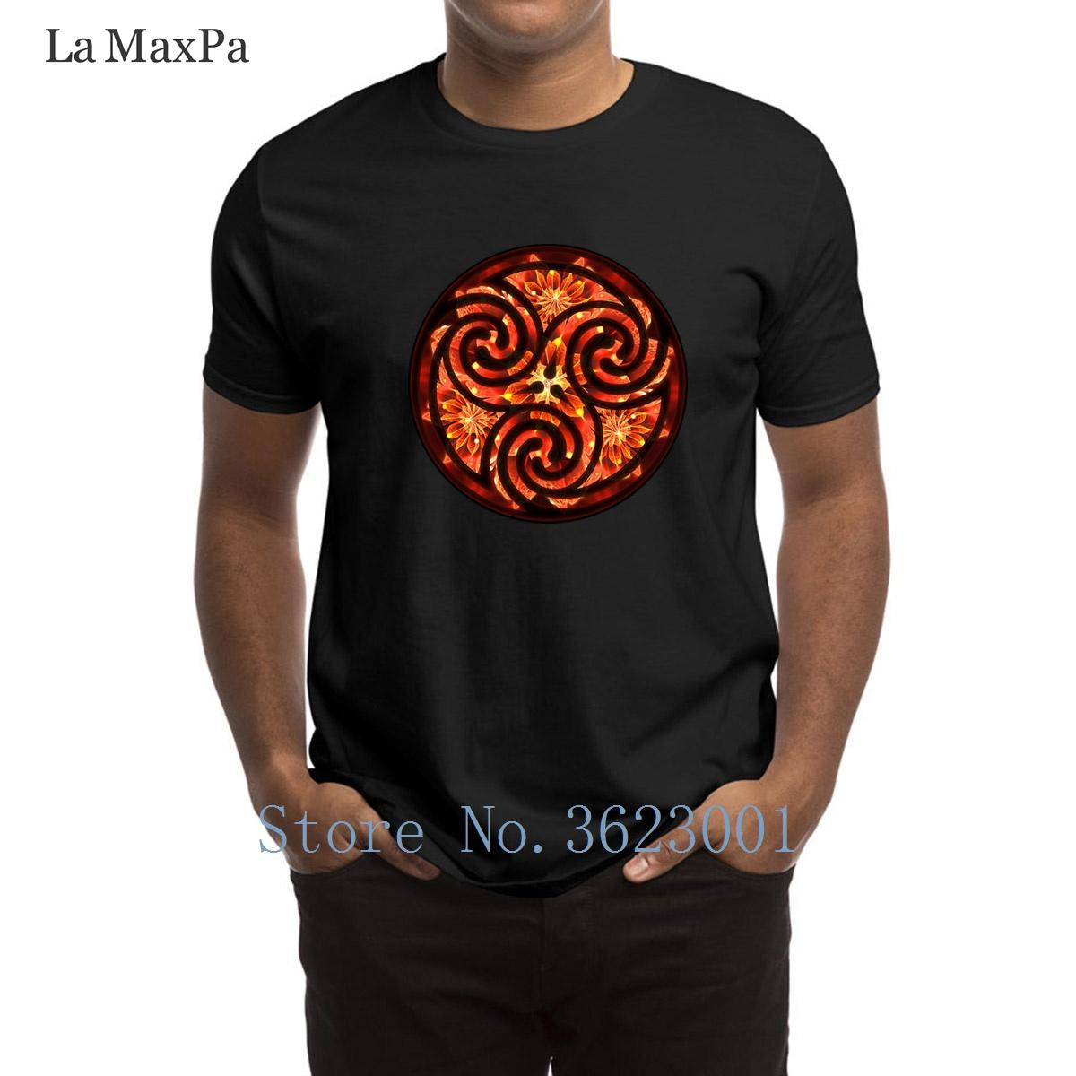 Printed Letter T-Shirt Red Dahlia Fractal Flower Triskelion T Shirt Family Clothes Tee Shirt Man New 100% Cotton Tshirt Fitness