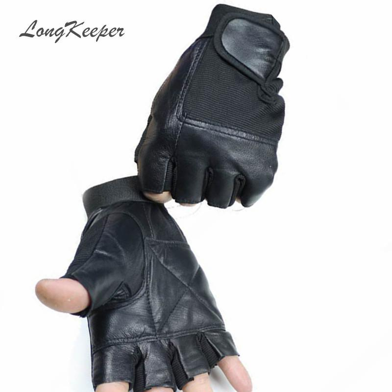 ad0857414 LongKeeper Genuine Leather Gloves for Men Women Fingerless Gloves Black Red  Fitness Work Out Mittens Guantes Mujer S120