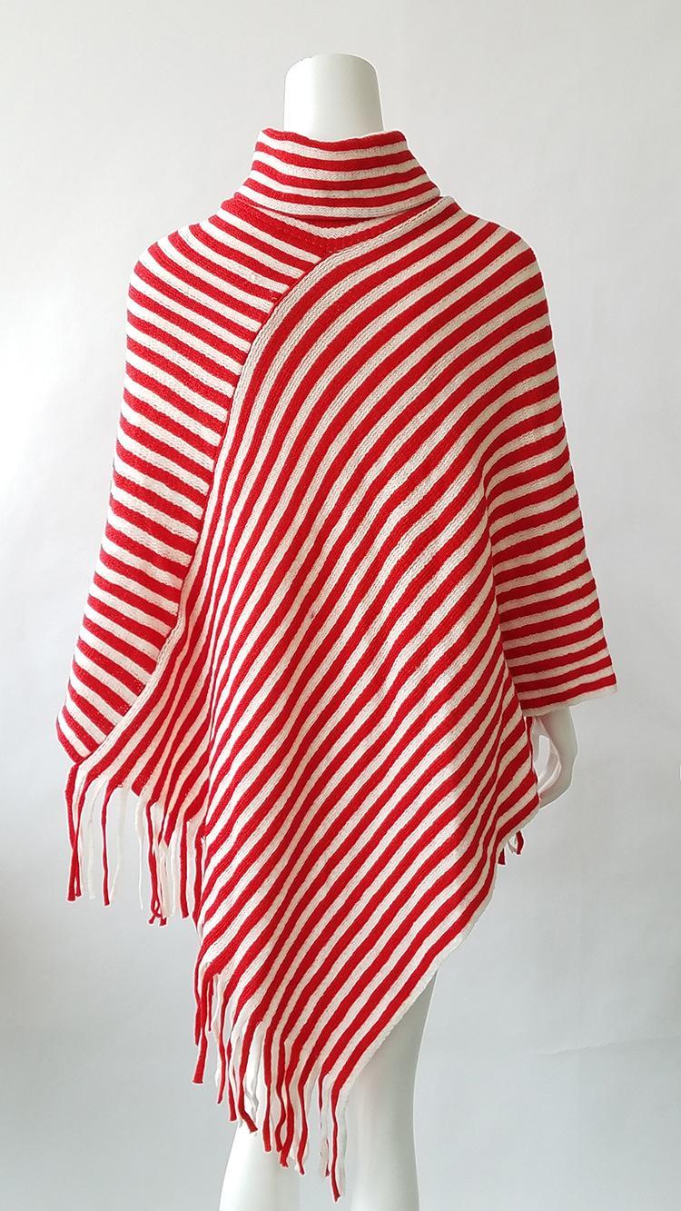 2018 Winter Strip 여성용 Tassels Poncho Shawls 높은 목 따뜻한 스카프 랩 크리스마스 선물 Stole 여성용 Tipet