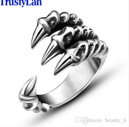 TrustyLan New US Size 7-12 Punk Rock Stainless Steel Mens Biker Rings Vintage Gothic Jewelry Silver Color Dragon Claw Ring Men