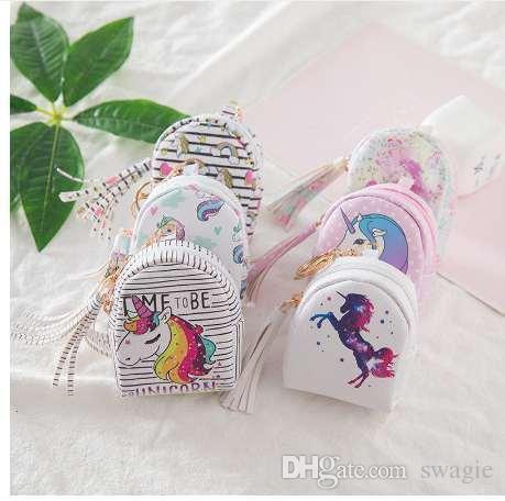 Portamonete stampa digitale Unicorn Set Design Nappa Portamonete Portachiavi borsa regalo portamonete