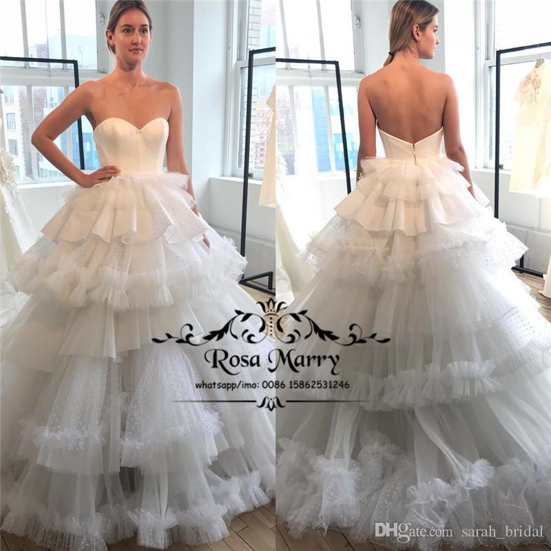 Modest Plus Size Em Cascata Babados Vestidos de Casamento 2020 Uma Linha Princesa País Praia Africano Árabe Vestidos De Noiva Do Casamento Vestido De Novia