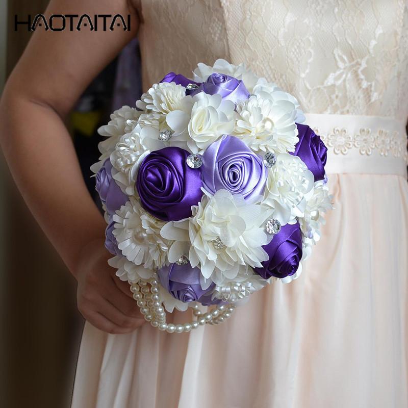 Bridal Brooch Bouquets Purple pink Ivory Vintage Artificial Flowers Wedding Bouquets With Brides Bouquet De Mariage 2018 hot