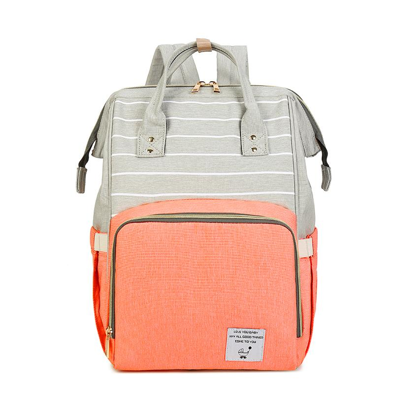 Waterproof Striped Mummy Backpack Travel Stroller Bagpack Women Baby Care Nappy Backpack for Large Nursing Diaper Bag