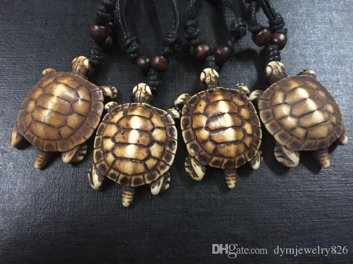 Men Women's Imitation Faux Bone Cute Tortoise Hawaii Tribal Surfer Turtles Charms Pendant Necklace amulet Gifts