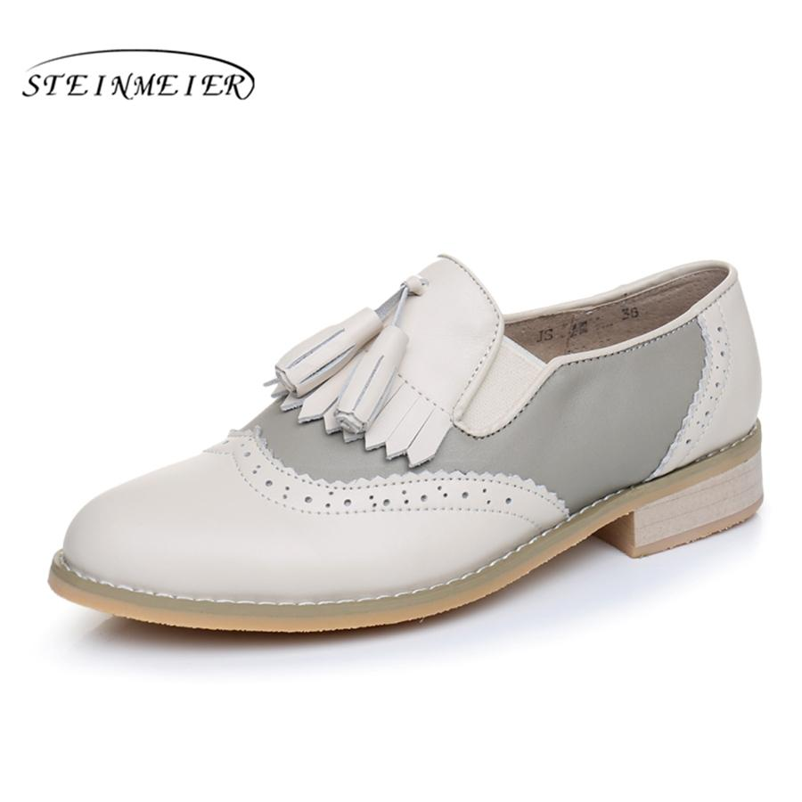 dirt cheap lower price with details for Genuine Leather Big Woman US Size 11 Designer Vintage Flats Shoes Handmade  Black Beige White Oxford Shoes For Women With Fur Shoes For Men Womens ...