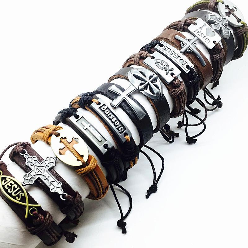 Nova marca 10 pcs cruz dos homens pulseira de couro genuíno marrom preto Jesus metal Christ mix estilos masculino real cuff bangle jóias Y1891709