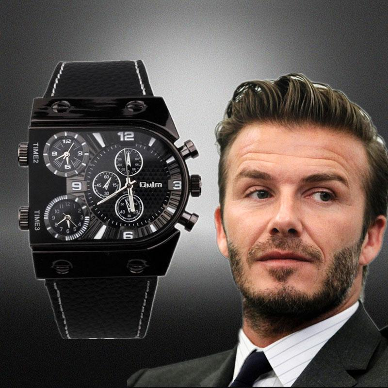 X Watches Men Oulm 9315 Quartz Casual Leather Strap Wristwatch Sports Multi-Time Zone Army Military Male Watch Clock Men's Watch