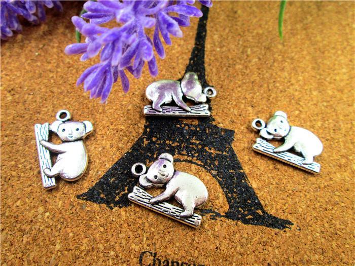45pcs-Koala askı, Antik Tibet gümüş Koala Charm Kolye 19x14mm