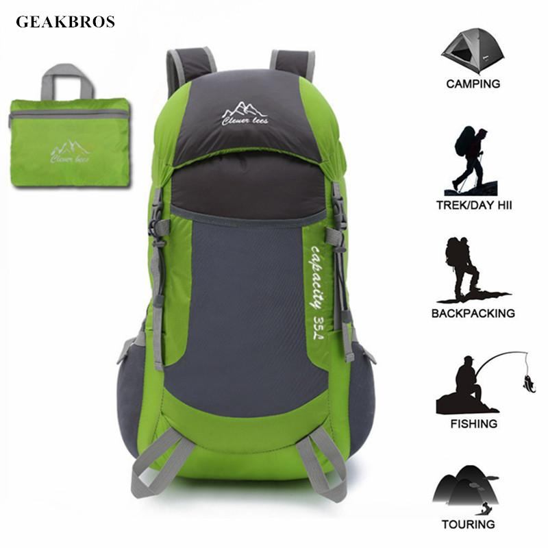 Women Men 35L Foldable Waterproof Backpack Outdoor Hiking School Bag Lightweight