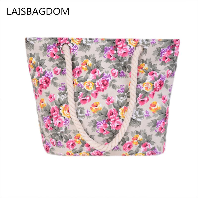 New Floral Printing Bag Women Handbags Canvas Lady Shoulder Bags Large Tote Ladi Fashion Bag Brand 2017 Woman Beach Handbag D18102407