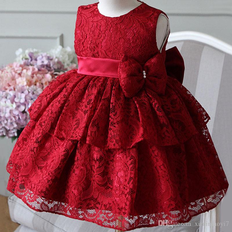 Casamento festa de aniversário elegante Lace Red Summer Girl vestido de princesa Batismo Vestido Baby Girl Formal Primeira Comunhão Vestido