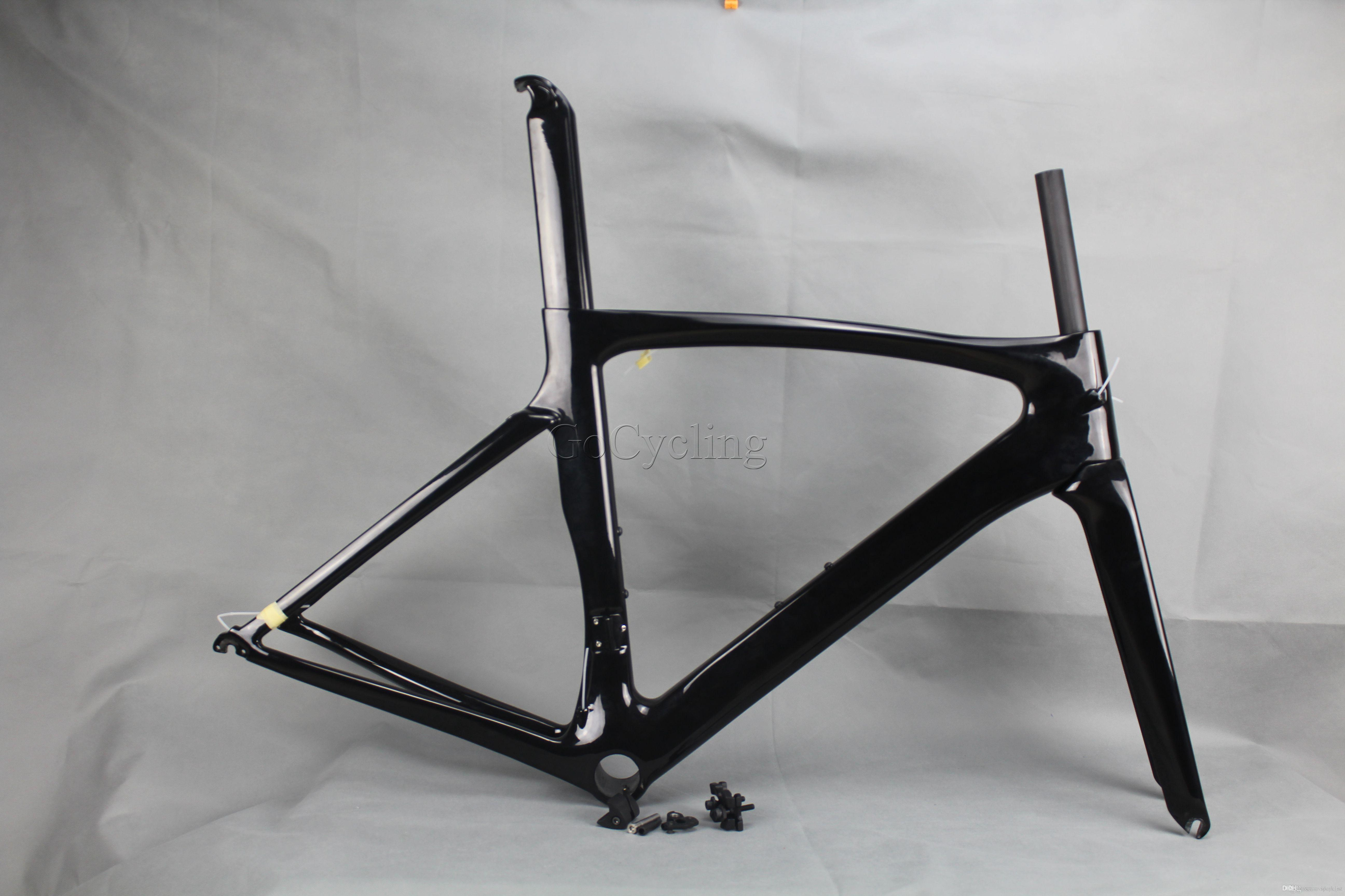 Carbon road bike frames Black glossy racing carbon bicycle frame cycling frameset No decals clear coat BB shell PF30