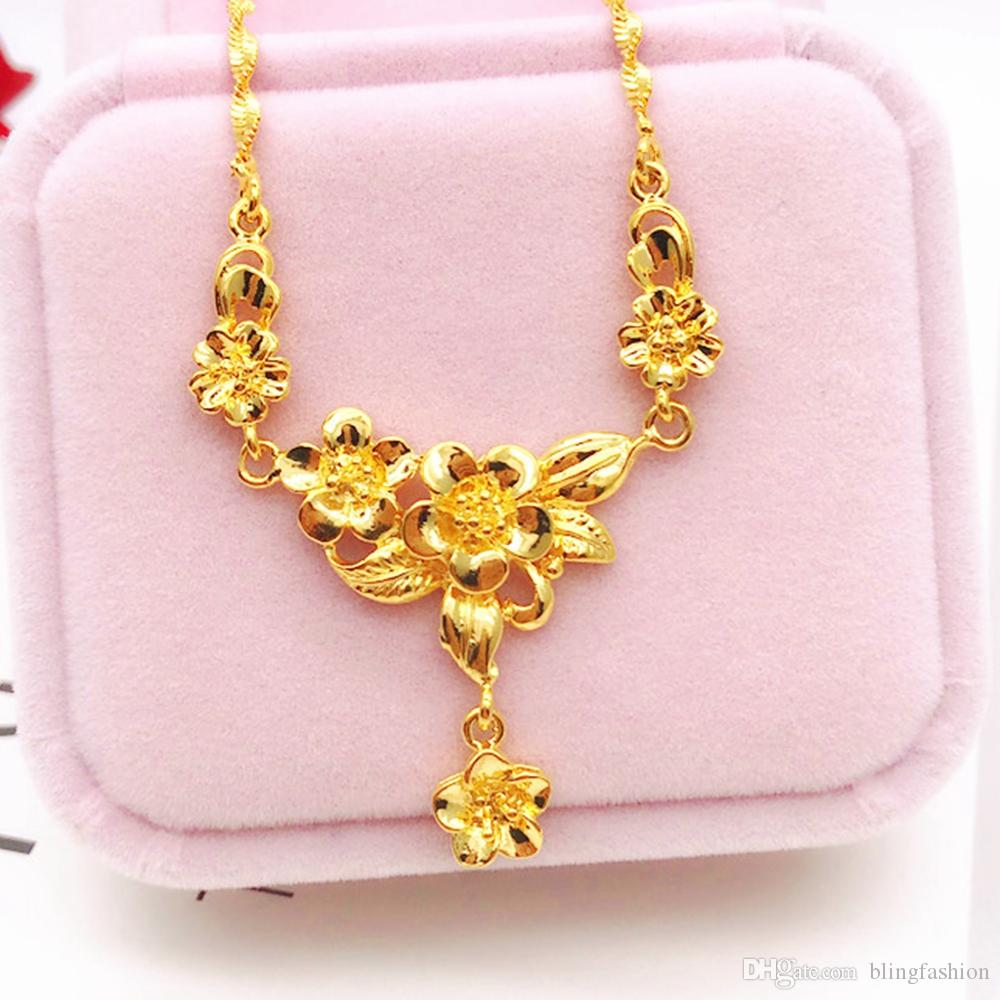 Flower Shaped Pendant Chain Classic Chinese Style 18k Yellow Gold Fille Beautiful Womens Pendant Necklace Gift