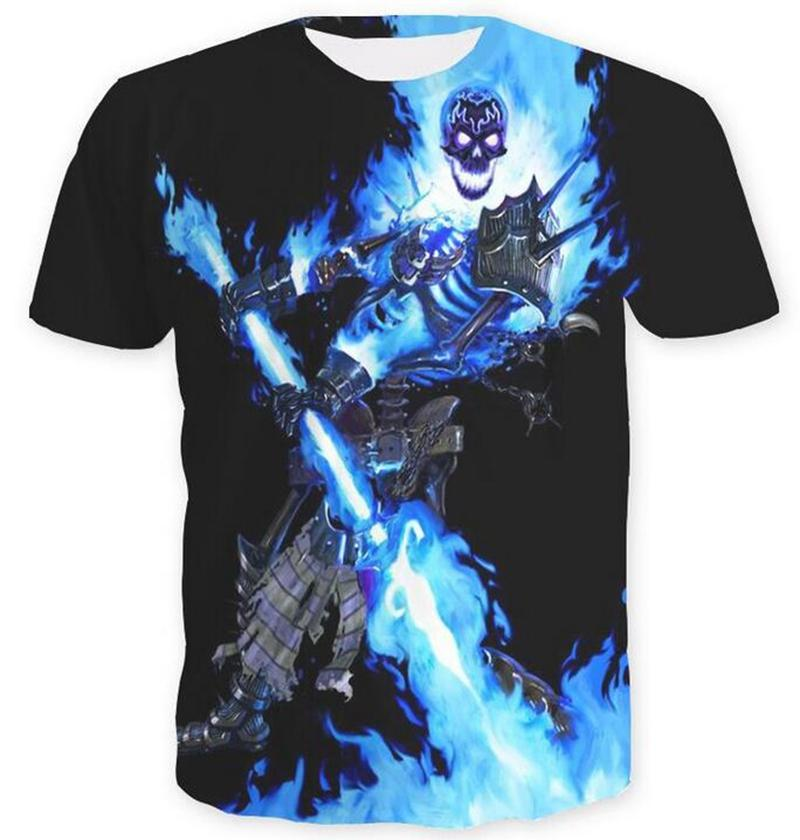 Blue Fire Skull 3D impreso mujeres / hombres de manga corta camisetas casuales