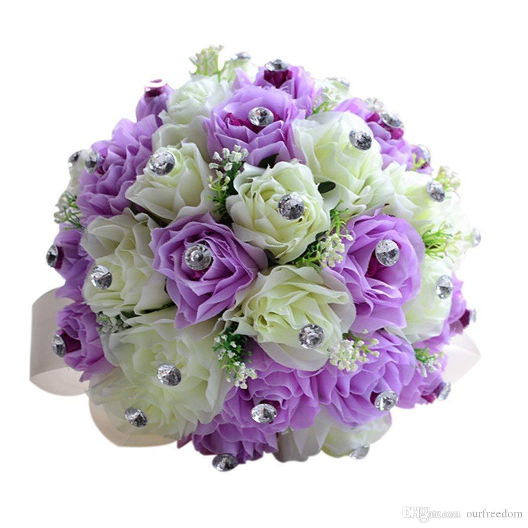 Clearbridal Personnalisation avancée mariée à la main romantique tenant fleur, style occidental Bouquet de mariage élégant WF015